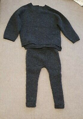 ZARA 100%CASHMERE grey Sweater Pants Set 12-18  M 86cm Jumper leggings