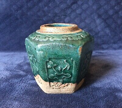 Antique Chinese Green Glazed Ming Style Shiwan Pottery Spice Ginger Jar