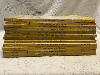 12 Vintage National Geographic Magazine 1946 Complete Year Set Coke Ads