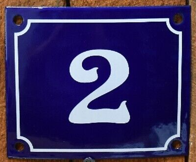 Vintage Style Blue Enamel Porcelain French House Number Door Steel Metal Sign 2