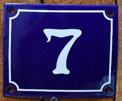 Vintage Style Blue Enamel Porcelain French House Number Door Steel Metal Sign 7