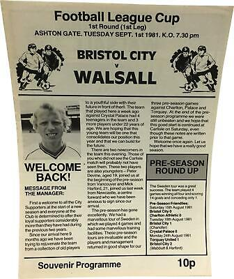 PRE-OWNED Bristol City V Walsall First League 1st Sep 1981 Programme DS324