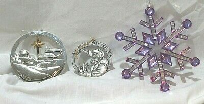 Christmas Ornaments 3 Silver Gold Purple Vintage Avon Collectibles Pewter 1997