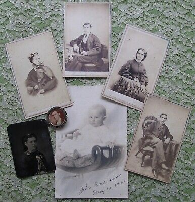 7 Antique Cabinet Photographs/ Mourning Brooch RAVENNA OH Area+Baby JOHN EMERSON