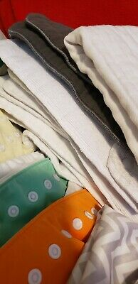 8 snap cloth diapers lot with 16 inserts, waterproof diaper bag