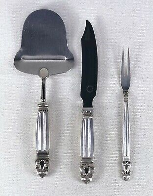 Antique Danish Georg Jensen Acorn Sterling Silver 3 Piece Cheese Serving Set