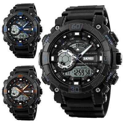 SKMEI Mens Military Digital Analog Quartz Sports Waterproof Black Wrist Watches