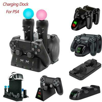 For PS4 VR PS Move Gamepad Controller Charging Dock Charger Station Holder Stand