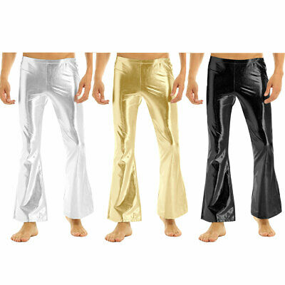 Mens PU Leather Muscle Tights Long Pants Shiny Clubwear Disco Nightclub Trousers