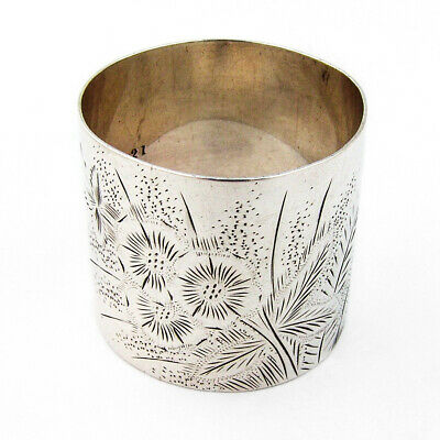 Bright Cut Engraved Floral Napkin Ring Sterling Silver 1880