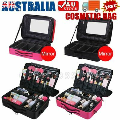Professional Makeup Bag Portable Cosmetic Case Storage Mirror Box Travel Brush