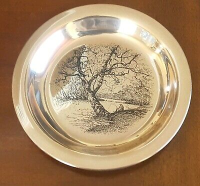 """Sterling Silver Limited Edition James Wyeth,1972, Plate,""""Along The Brandywine"""""""