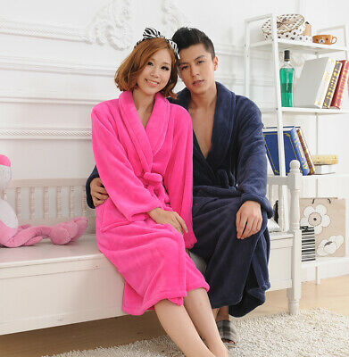 Luxury Womens Mens Thermal blue Fleece Dressing Gowns Super soft Bath Robes 005