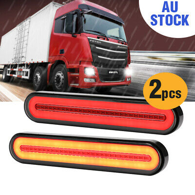 2X 100LED Stop Flowing Turn Signal Brake Rear Tail Light Halo Neon Trailer Truck