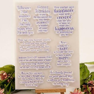 Blessing Quotes Silicone Clear Stamp Seal DIY Scrapbooking Embossing  Album Card