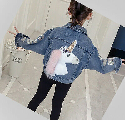 Girls kids Denim Jacket Sequins Sleeves Jeans Outwear Autumn Unicorn Age 4-13 yr