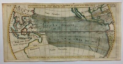 TRADE WINDS IN THE PACIFIC OCEAN 1711 UNUSUAL ANTIQUE MAP by DAMPIER 18TH CENT
