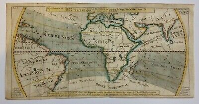 TRADE WINDS IN THE ATLANTIC OCEAN 1711 UNUSUAL ANTIQUE MAP by DAMPIER 18TH CENT