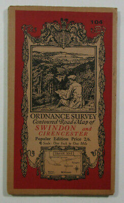 1932 Old OS Ordnance Survey One-Inch Popular Edition Map 104 Swindon Cirencester