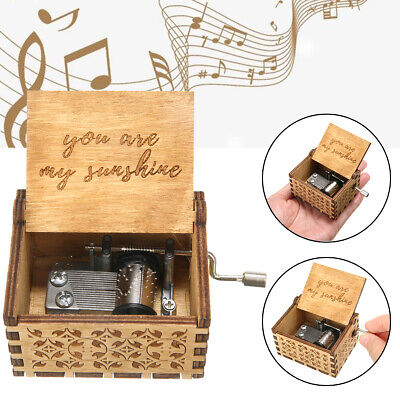 "Wooden Music Box ""You Are My Sunshine"" Engraved Musical Case Toys Children Gifts"