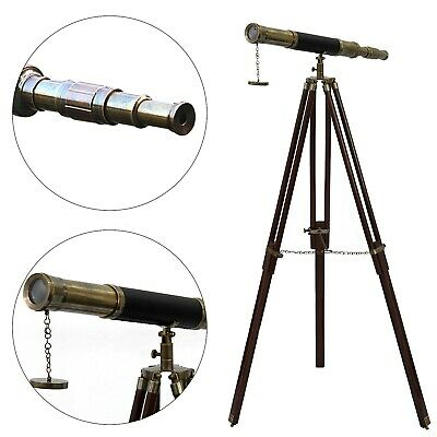 Nautical Maritime Solid Brass Leather Telescope Antique Floor Standing Tripod
