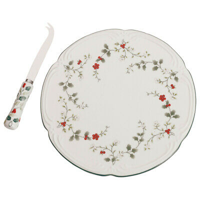 Pfaltzgraff Christmas Winterberry Cheese Tray with Knife