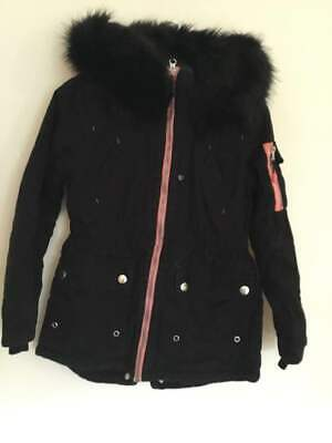 Girls Black Distressed Parka - Age 10 Years