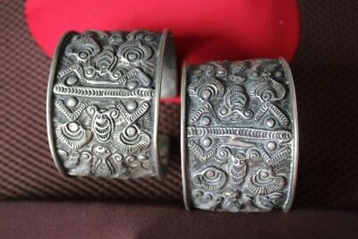 Tribal exotic chinese handmade Carving miao silver bracelet Pair SZ019
