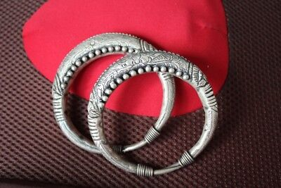 Tribal exotic chinese handmade Carving miao silver bracelet Pair SZ020
