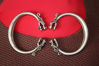 Tribal exotic chinese handmade Carving miao silver bracelet Pair SZ029