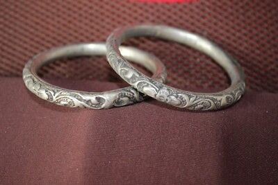 Tribal exotic chinese handmade Carving miao silver bracelet Pair SZ032