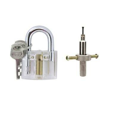 Locksmith with Disc Detainer Pick Skill Set Practice Type Clear Padlock Training