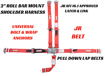 5 Point Kids Race Safety Harness Sfi 16.1 Latch & Link Universal Sfi 16.1 Red