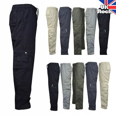 Men Casual Cargo Combat Trousers Solid Elastic Waist Pockets Pants Work Wear UK