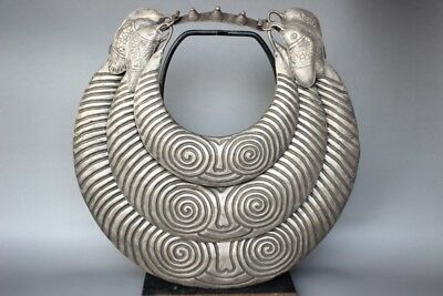 Chinese antique Collection Ethnic Miao Silver Handmade big Necklace