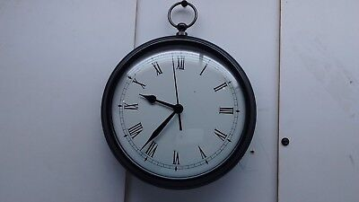 "Cast Metal 10"" Bronze Pottery Barn Watch Wall Clock Roman Glass Face  Dark Brown"