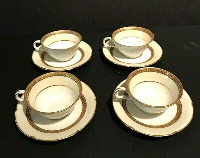 Beautiful Lot Of 4 M Redon Limoges White & Gold  Demitasse Cups & Saucers