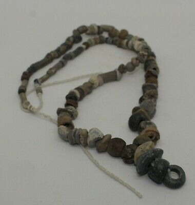 Ancient Carved Stone Bead Necklace - 231