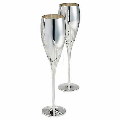 Elegance Silver Pair of Silver Champagne Flutes