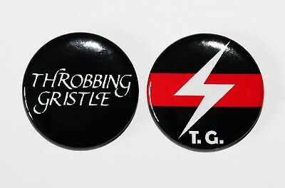 2 x 25mm THROBBING GRISTLE - INDUSTRIAL MUSIC Button Badges - NEW!