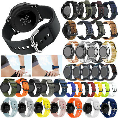 US 20/22mm Genuine Leather Nylon Silicone Wrist Watch Band Stainless Steel Strap