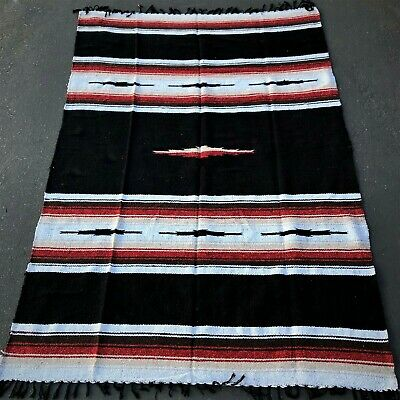 Mexican Yoga Blanket Black Red Diamond Stripes Native Serape Boho Falsa Throw XL