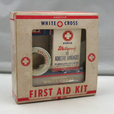 Vintage American White Cross First Aid Kit 4 piece Kit Made in USA