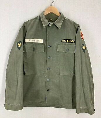 Vtg 40's/50s WW2 Korea US Army 25th Infantry HBT Combat Field Jacket W/ Patches