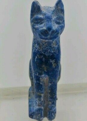Beautiful Ancient Egyptian Lapis Lazuli Bastet Statuette Very Rare Pretty Item .
