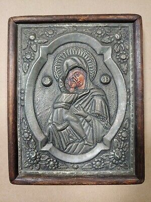 Antique Russian Orthodox Icon Carved Wood & Silver Gilt Mary & Baby Jesus