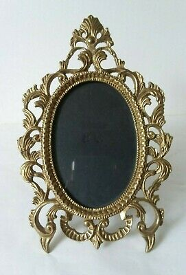 "Heavy Metal Gold Tone Oval Picture Frame Ornate Antique Look  3"" x 4 1/2"""