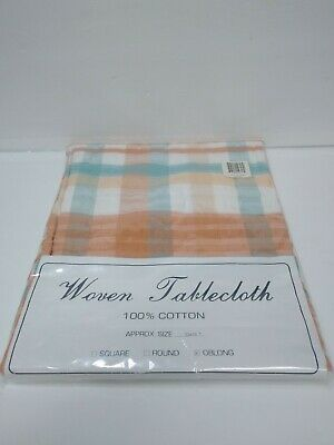 Vintage Oblong Woven Table Cloth New Old Stock 100% Cotton 52x70 Omusa Plaid