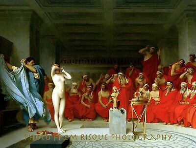 """Nude Woman Bathing In Harem 8.5x11/"""" Photo Print Naked Female Painting Gérôme"""