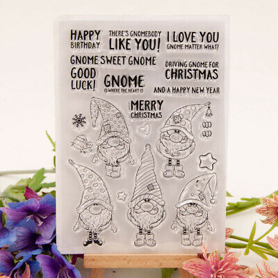 Christmas gnome Silicone Clear Cling Stamp Scrapbook Embossing Album Décor DH